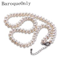 Correntes Barochy White Natural Natural Pérola Colar 8-9mm Beads Jóias 40cm / 45cm / 50cm Comprimento Para As Mulheres Presentes