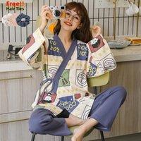 Melife otoño japonés kimono pijama conjunto para mujeres 100% algodón PJS Satin Atoff Home Sleepwearwear Winter Warm Yukata Seda de la ropa de dormir 201109