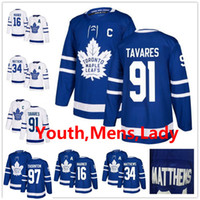 Homens Kid Lady 91 John Tavares 97 Joe Thornton William Nylander Mitch Marner Morgan Rielly Auston Matthews Toronto Maple Leafs Hockey Jerseys