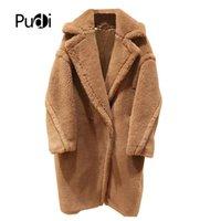 Pudi новые женщины мода настоящий мех овец над пальто девушки досуг твердой тедди цвета куртка по размеру Parkas CT817 201103