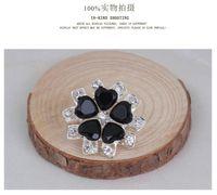 Broş Retro Stil Siyah Büyük Kristal Broş Renkli Çiçek Kadınlar Broş iğneler Kristal Rhinestone broşlar