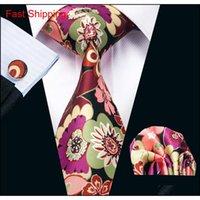 Yeni Stil Erkek Baskılı Bağları Mix Renk Çiçek Desen Siyah Iş Düğün Ipek Kravat Seti
