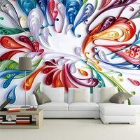 الجملة- مخصص 3d جدارية خلفية جدارية جدار الفن الحديث الإبداعي الملونة الأزهار مجردة خط اللوحة ورق الحائط لغرفة المعيشة غرفة النوم 1