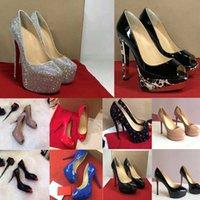 2021 كلاسيكي سيدة الأحمر أسفل عالية الكعب منصة منصة مضخات الأحذية عارية / الأسود براءات الاختراع الجلود زقزقة تو النساء اللباس الصنادل الزفاف الأحذية حجم 34-45