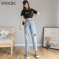 Jeans das mulheres voociec Bolsos femininos lavados cintura alta buraco tubos retos calças casuais outono e inverno cor sólida qualidade jeans1