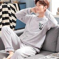 Человек Pajama наборы фланель зима теплые сонные костюмы O-шеи коралловые флисовые мягкие удобные толстые длинные рукава негабаритные 3xL домашняя одежда1