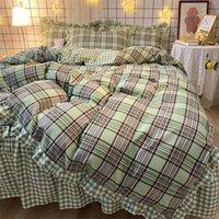 الكورية نمط الفراش مجموعات 4 قطع منقوشة سرير البدلة اللوازم غطاء لحاف القطن سرير تنورة مصمم الفراش في سوق الأسهم