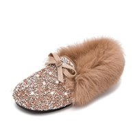 Girls Shoes For Wedding Party Winter Warm Cotton Fluffy Real Fur Kids Leather Shoes Children Flats Loafers Princess Chic