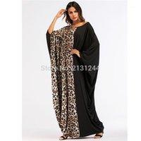 Abbigliamento etnico Abbigliamento casual Leopard Maxi Dress Abito musulmano Abaya cotone Eid stile sciolto stile lungo abito abiti Kimono Ramadan Medio Oriente Panno islamico