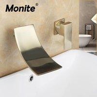 Monite نحى الذهب جدار الخيالة حوض الاستحمام حوض الحمام بالوعة خلاط صنبور صنبور جولدن مطلي الشلال خلاط مقبض TAP1
