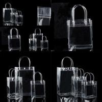 PVC-Kunststoff-Geschenk-Taschen mit Griffe Kunststoffweinverpackungs-Taschen klare Handtasche-Party-Favoriten-Tasche-Mode-Taschen mit Knopf 92 G2