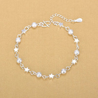 Donne 925 Braccialetti sliver sterling handwear fascino fascino fascino matte perline a stella ciondolo anklets bracciale gioielli regalo di San Valentino 156 J2