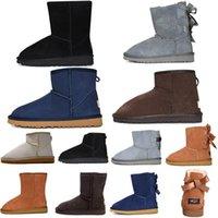 Wnter exterior corto de piel de Bowtie de nieve botas de cintas Mini clásico Forme a mujeres las botas del tobillo arrodillarse zapatos de castaño amarillento Negro Gris para mujer