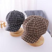 Diseñador niños sombreros de invierno otoño nuevos niños de la tela escocesa de la princesa Caps casuales de la moda de cuadrícula octogonal muchacha del sombrero de la boina ocasional linda S828