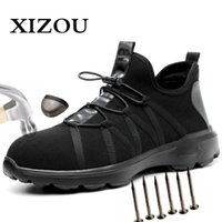Xizou Safety Boot Air Mesh Zapatos de seguridad para hombres Botas de punta de acero Hombres Punchure Proof Sneakers Indestructible Shoes 201126