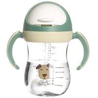 350ml 아기 물병 Sippy 컵 소프트 스파우트 컵 중력 공 V 형 짚 안티 디자인 아기 - 녹색 C1002