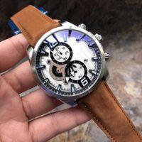 Yeni Moda Erkek Tasarımcısı Lüks Saatler Montre Chronograph Deri Erkekler İzle Saat Kuvars Saatler Relojes De Lujo Para Hombre Bilek izle