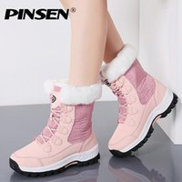 Pinsen 2020 الشتاء النساء الثلوج أحذية عالية الجودة الدافئة دفع منتصف العجل أحذية النساء منصة الإناث الدانتيل متابعة للماء بوتاس موهير 1