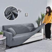 Sofa-Cover für Wohnzimmer Massivfarbe Elastische Spandex Moderne Polyester Ecke Sofa Couch Slipcover Chair Protector 1/2/3/4 Platz 201221