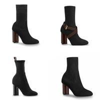 Diseñador de las mujeres botines botas bota del tobillo Silueta Negro martin estiramiento alta del calcetín del talón botas y zapatillas calcetín plana de arranque invierno de las mujeres Zapatos