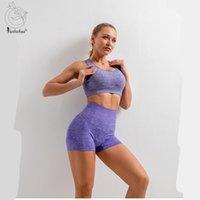 Yushuhua set yoga set mulheres blusas de verão top shorts ginásio esporte esporte sutiã alta cintura apertado leggings terno fitness terno de manga curta set1