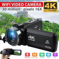 4K Ultra HD كاميرا فيديو كاميرا فيديو wifi 30mp 3.0 بوصة 270 درجة دوران lcd لمس الشاشة 16x التكبير الرقمية dv كاميرا الفيديو