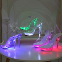 Scarpe Light Up ardore della donna dei pattini della piattaforma luminoso chiaro Sandali donna LED 13cm tacco alto trasparente Stripper Shoes Heels