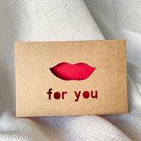 Cartolina d'auguri di carta kraft cartolina d'auguri di San Valentino Biglietto di auguri Hollow Biglietto di auguri per il ringraziamento Benedizione Benedizione Benedizione 6pcs / Set 62 P2