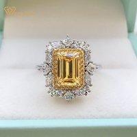 Wong Chuva Luxo 925 Sterling Prata Esmeralda Corte Criado Moissanite Casamento Noivado Clássico Mulheres Anéis de Jóias Fine Y0122