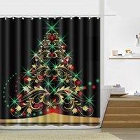 180 * 180cm 크리스마스 샤워 커튼 산타 클로스 눈사람 방수 욕실 샤워 커튼 장식 후크 21 디자인 HHD4656