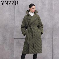 Women's Down & Parkas YNZZU 2021 Winter Jacket Solid Elegant Long 90% White Duck Coat Warm Female Outwear Sashes A1394