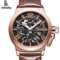 IK Coloring Rose Gold Case Automatique Montres Mécanique Hommes En Cuir Véritable Squelette creux de creux transparent Watch1