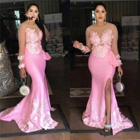 Beautiful Pink Plus Size Prom Dresses With 3d Floral 2020 Satin Formal Evening Gown Slit African Mermaid Party Dress Long Sleeve
