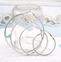 Toppkvalitet 925 Sterling Silver / Golden Exagted Hoop Earrings Stor Diameter 6-10cm Fashion Party Söt jul PS0678