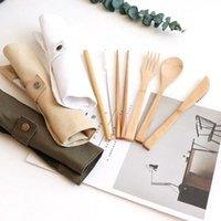 Il kit di posate di viaggi di bambù naturale include coltello, forchetta, cucchiaio, paglia e pennello per la pulizia per il campeggio dell'ufficio Pranzo EEF4202