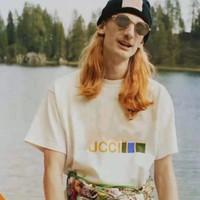 2021 Primavera Nuovo Europeo e Americano CO Branded Stampato T-shirt in cotone girocollo T-shirt uomo e donna allentati T T-Celebrity Design Manica corta Coupl