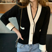Woman Cardigan Sweater Black White Striped Patchwork V- Neck ...