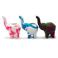 3 Farben Elefant Silikon Rauchen Rohr Handpfeife mit dicker Glasschüssel Tabakspfeife Shisha Wasserpfeife KKF2094