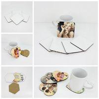 DA TE Sublimazione Blank Blank Coaster in legno tazza tazza pad mdf promozione amore rotondo fiore a forma di tazza tazza mat pubblicitaria favorire il regalo DHL