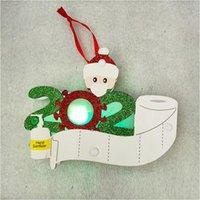 2020 Quarantine Albero di Natale LED Ornamento Legno Maschera del pupazzo di neve ciondolo appeso 3D di Natale decorazioni natalizie CCA12577