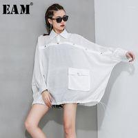 [EAM] Женщины белая краткая кнопка разделить большую размер блузку Новый отворот с длинным рукавом свободные подходят рубашка мода прилив весна осень 2020 1R6171