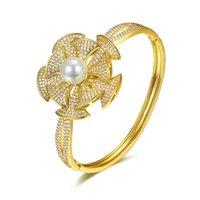 Браслеты очарования Erluer 2021 кубический цирконий натуральный пресноводный жемчуг для женщин мода открытый манжеты женские ручные браслеты свадебные украшения