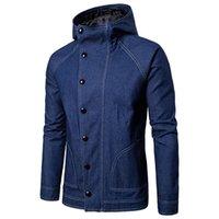 Erkek yelekleri kot ceket erkekler kapüşonlu tasarım rahat kot ceket streetwear rüzgarlık siyah mavi