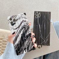 Квадратная полоса для печати мраморная матовая задняя крышка противоскольжения полный защитный силиконовый телефон оболочкой для iPhone 12 11 Pro Max XR 8 плюс SE SE