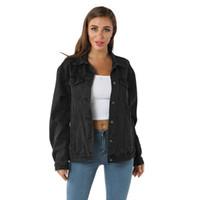 Escudo del vaquero de las mujeres ocasionales de manga larga bolsillo botón capa del cortocircuito de la chaqueta de la vendimia Outwear otoño Mujer Moda 10,29