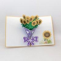 تحية ستيريو بطاقات الهدايا عباد الشمس باقة 3D بطاقات المعايدة مهرجان بطاقة بريدية فارغة ورقة يدويا قص دعوات مخصص