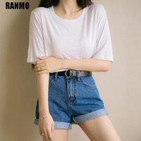 Ranmo 여성 반바지 데님 여름 캐주얼 느슨한 높은 허리 넓은 다리 청바지 반바지 벨트 한국어 스타일 여성 플러스 사이즈 2XL 청바지