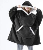 Негабаритное одеяло с капюшоном с рукавами толстовка зимний флис капюшовый женский карманный женский шерпа гигантский с капюшоном негабаритным