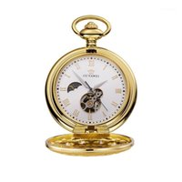 OUYAWEI mechanische zakhorloge Heren Topkwaliteit Vintage Cutout Perspect Bodem Cover Handmatige Windende Pocket Horloge Armband Clock1