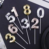 Nuevo Número de color de champán de plata de oro 0-9 Cake Topper Feliz Cumpleaños Cupcake Decoración Número Velas Suministros de fiesta Baby Shower1